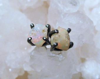 Raw opal earrings, Ethiopian Welo opal studs, rough stone earrings, opal jewelry, blackened sterling silver, everyday gemstone post earrings