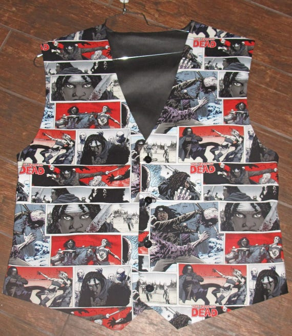 Walking Dead Comic Book Print men's sporty vests with buttons for closure in 8 sizes