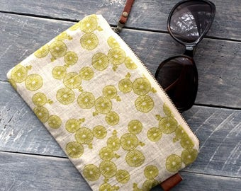 Hand Screen Printed Linen Zipper Pouch