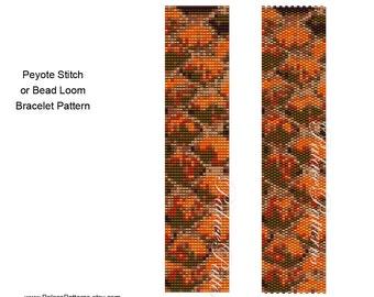 Peyote Stitch or Bead Loom Bracelet Pattern, Orange Snake4 Bracelet Pattern, Delica Bead Bracelet Pattern