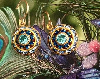 Shades of Blue Vintage Swarovski Earrings, crystal