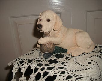 Yellow Lab with Duck Decoy Figurine