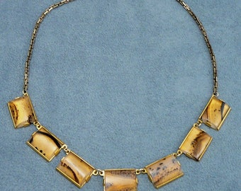Art Deco Picure Agate Necklace Moss Agate Choker