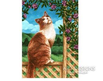 ACEO Cat Art Print, Cat on Rose Flower Trellis, Archival Art Print, Cat Acrylic Painting Print, SFA, Small Format Art, Art Card, ADA-P380