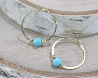 "Gold filled hoop earrings reconstituted turquoise bead 3/4"" endless round handmade"