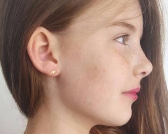Dainty lightning Earrings, Gold Stud Earrings, Tiny lightning posts, lightning Jewelry, gift for girls, fashion earrings, Holiday gift