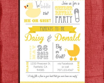 """Printable """"Waddle it be"""" Baby Duck Baby Gender Reveal/ Baby Shower 4x6 or 5x7 Invitation-DIY"""