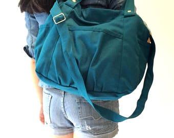 Teal Blue Messenger bag, Travel diaper bag, Back to school bag , Travel cross body bag , women tote bag /Sale 25 % - no.13 ANNA