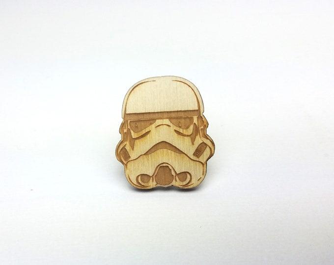 Stormtrooper Pin | Laser Cut Jewelry | Wood Accessories | Wood Pin | Handmade Pin |