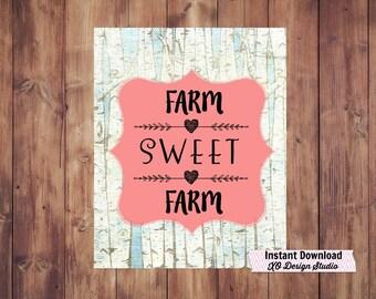 Farm Sweet Farm Farmhouse Art Print, Printable Farmhouse Home Decor, Fixer Upper decor