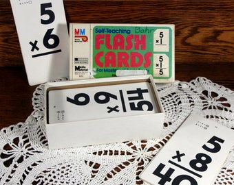 Flash cards-vintage multiplication cards in box-Media Materials--1985scrapbooking-craft supply-farmhouse decor
