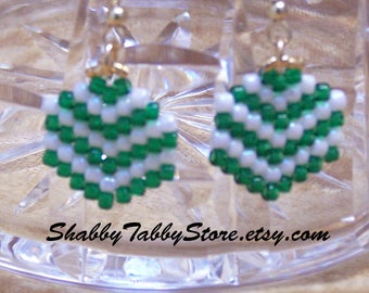 Green Striped Chevron Earrings
