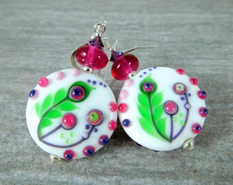 Botanical Dangle Earrings, Pink Purple Green Glass Earrings, Colorful Lampwork Earrings, Nature Inspired Jewelry, Fern and Flower Earrings