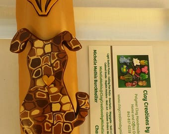 Dog Retro Brown Silhouette on a Gold Polymer Clay Mezuzah Case