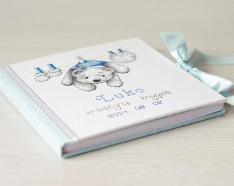 Personalized baby memory book white - blue  with cross stitch picture