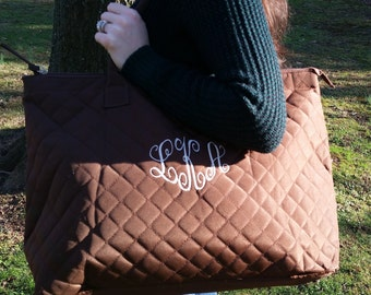 Personalized, roomy brown quilted tote with zipper top
