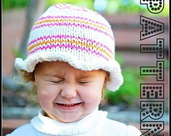 make your own Ruffled Stripe Hat (DIGITAL KNITTING PATTERN) preemie newborn baby toddler child adult