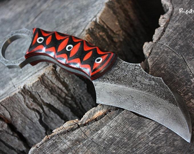 "Handcrafted FOF ""Reaver"", survival karambit blade"