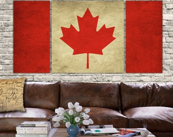 Canada Flag - 3 panel set. Vintage art, large Canvas Art, Vintage Canadian Flag Art, Canada canvas art. Other countries available.
