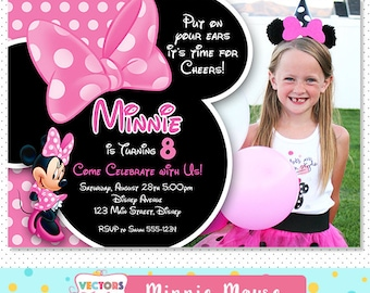 Minnie Mouse Invitation, Minnie Mouse Party, Minnie Mouse Invite, Minnie Mouse Birthday, Minnie Mouse Birthday Invitation Disney Minnie