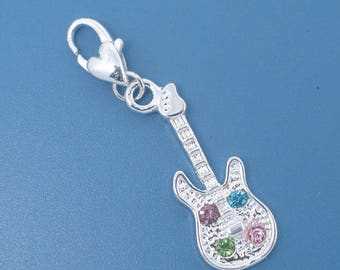 Silver Metal and rhinestone CHARMS 43x11mm guitar charm
