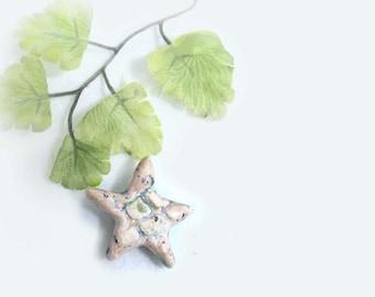 star bead,artisan bead, pottery clay, clay bead, necklace bead supply,   # 68