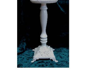 Victorian Style Hat Rack - Milliners Hat Stand or Wig Display with Brass Base - Shabby Chic, Glossy White