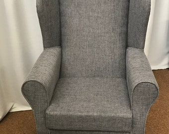 Wing Back Fireside Armchair Small Westoe in Grey Atlanta Fabric