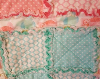 Hooty owl rag quilt multi bright colors flannel and soft cotton baby toddler lap