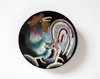 1950s SAN POLO ceramic wall hanging, Italian ceramic, rooster decor, mid century modern home decor