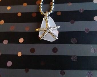 Sea glass starfish necklace /sea glass jewelry /Sea glass necklace / beach glass necklace/ white sea glass/ seaglass / charm necklace