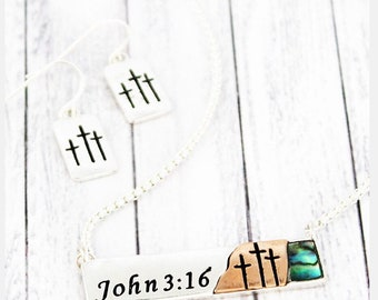 John 3:16 jewelry set, cross necklace, cross earrings, inspirational jewelry, Mother's Day gift