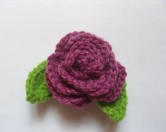Crochet pink raspberry and leaves, 8 cm, set of 2.