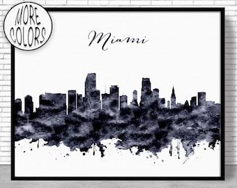 Miami Print Miami Skyline Miami Florida Office Decor Office Art City Skyline Prints Skyline Art ArtPrintZone