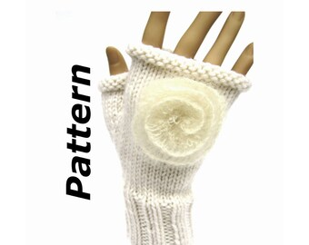 Fingerless Mitts knitting pattern pdf, aran worsted yarn, easy written instructions, magic loop, short-row flower feminine, instant download