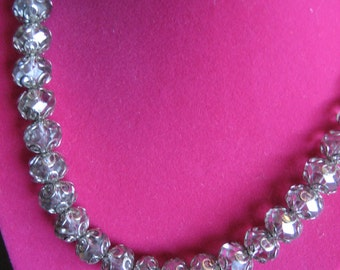 """Vintage CUT CRYSTAL NECKLACE - with Matching Earrings - Beautiful Set with Silver Spacers - Wedding, Prom or Evening Wear - 19"""" long"""