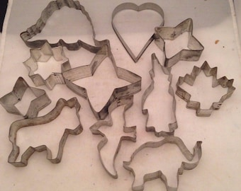 Cookie Cutters - Eleven Aluminum Cookie Cutters - Stars, Witch, Elephant, Donkey, Bird, Heart etc