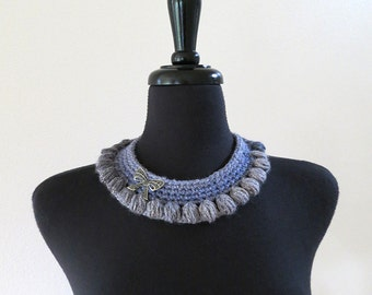 Light Blue Gray Color Statement Crochet Collar Necklace Choker Bib with Bow Metal Pendant