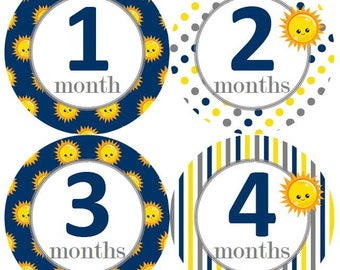 Baby Monthly Milestone Growth Stickers Suns Solar Navy Grey Yellow Nursery Theme MS945 Baby Boy Girl Shower Gift Baby Photo Prop