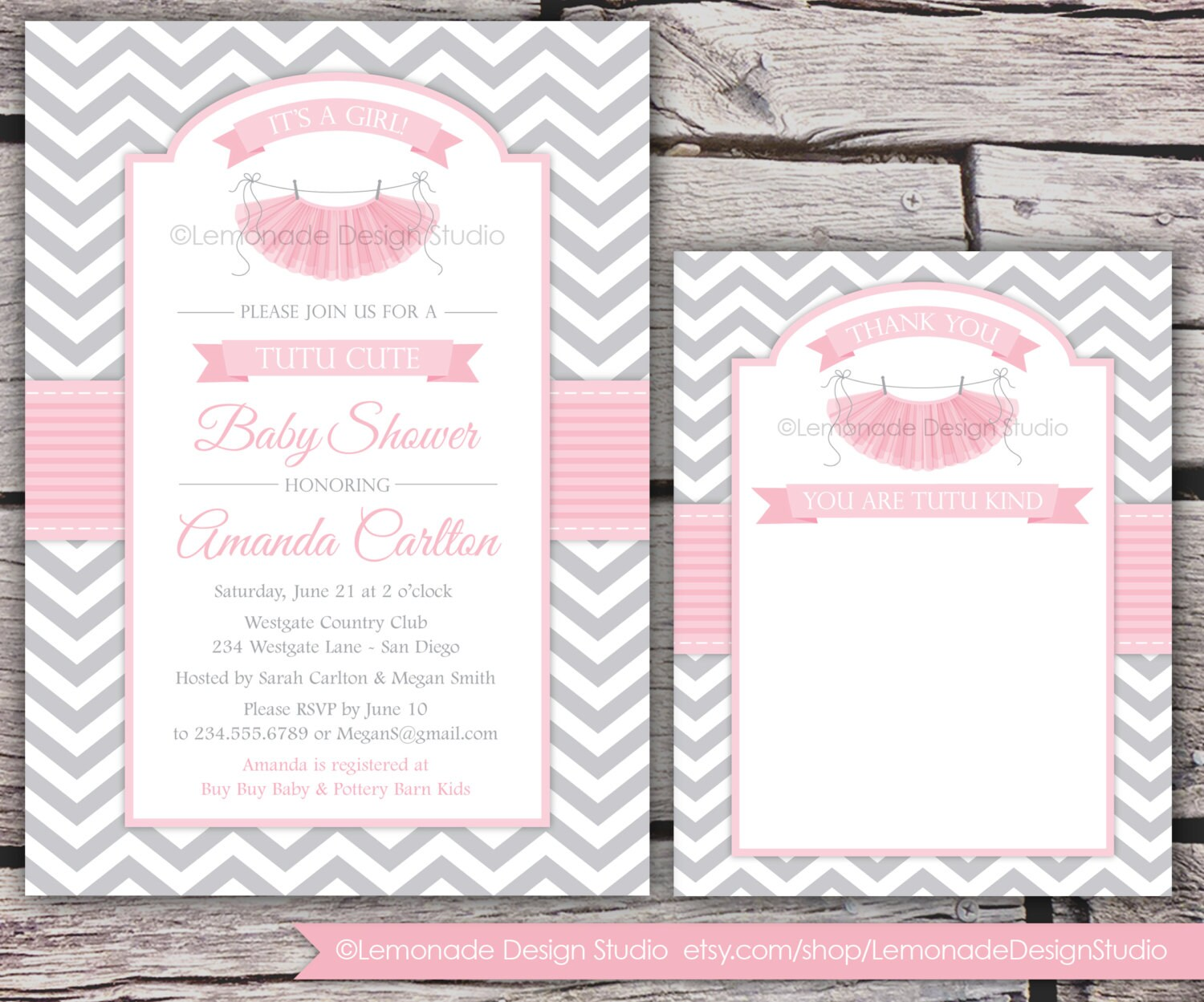 Tutu cute baby shower invitation and thank you card chevron zoom filmwisefo Gallery