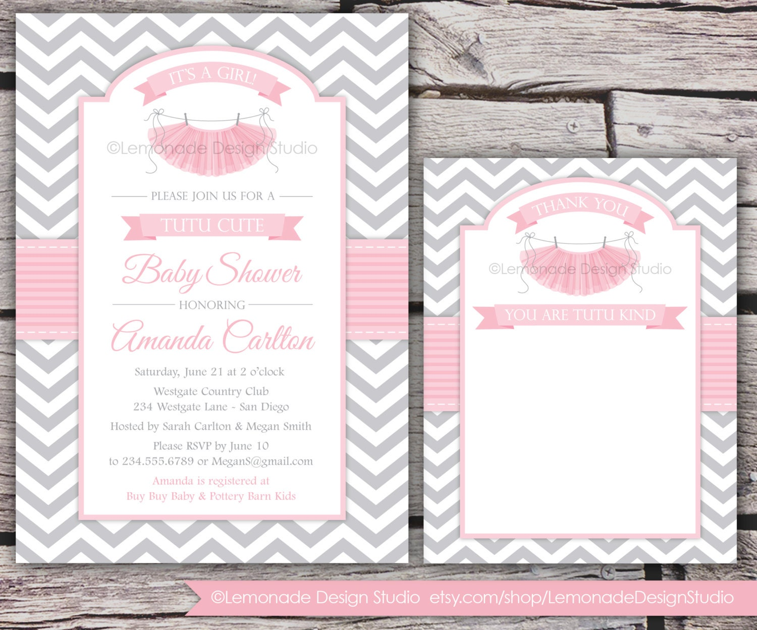 Tutu cute baby shower invitation and thank you card chevron zoom filmwisefo Choice Image