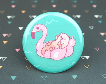 Otter Flamingo Pool Float, Summer Pin, Otter Button, Beach Day, Pool Bag, Tropical Badge, Small Gift, Pool Party, Best Friend Gift, Birthday