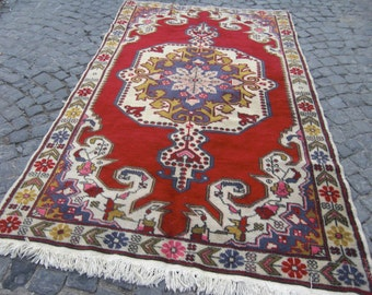 Turkish RUg - 4.5x7.7 rug vintage , turkish vintage rug , floor runner large red rugs, 372