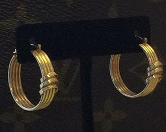 """VINTAGE 14K Yellow Gold UNIQUE 1"""" Hoop Earrings"""