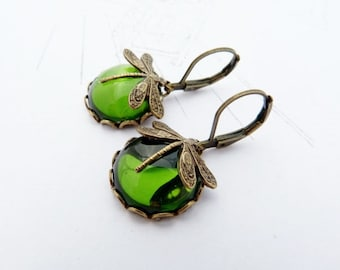 MossMoons glass cabochon brass dragonfly earrings victorian style made to order
