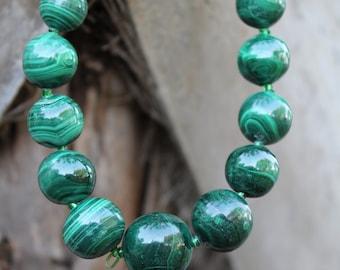 Beautiful Round Bead Malachite Necklace