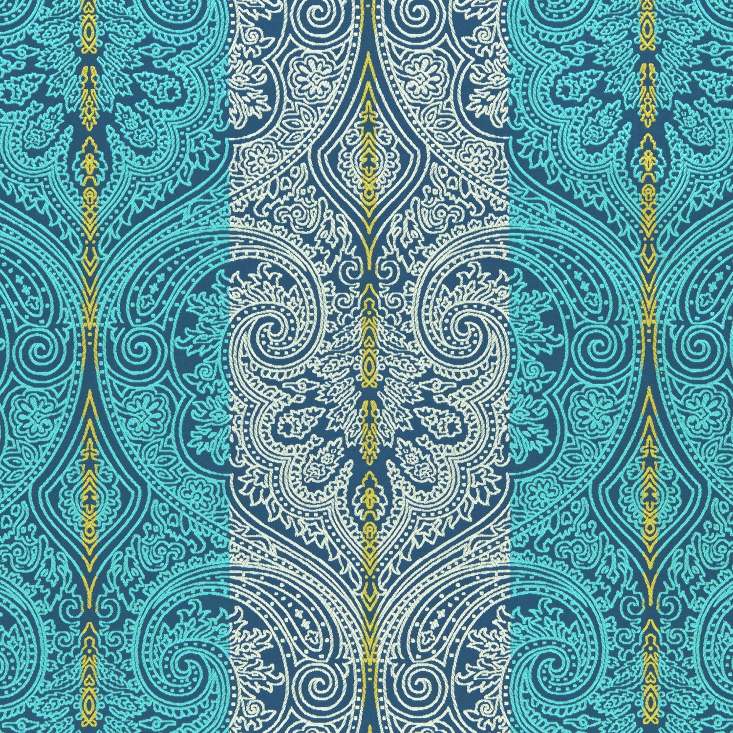 Bradberry Downs Blue Aqua Teal Light Green Yellow Wool: Turquoise Damask Upholstery Fabric Navy Blue Yellow