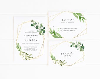 Minimalist Wedding Invitation Printable, Geometric Wedding Suite, Greenery and Gold, Modern Wedding Invites and RSVP card, Simple and Clean
