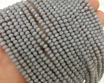 3x2mm Faceted Gray Crystal Beads, Glass Rondelle Beads