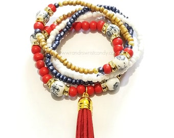 Red, Blue, Tan,White Stretchy, Boho, Tassle, Minimalist, Beaded Bracelet, Charm, Custom Handmade Beaded Jewelry